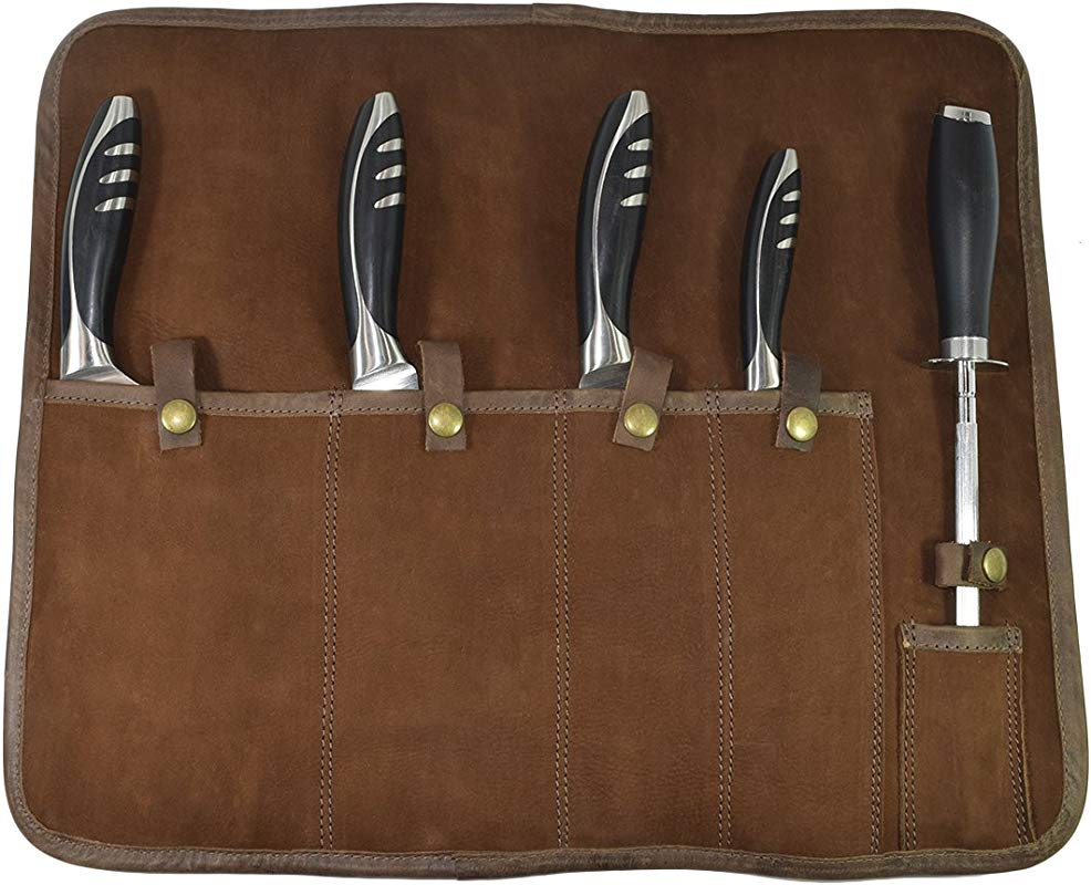 Hide Drink Waxed Canvas All Purpose Knife Roll 5 Pockets Handmade Suede