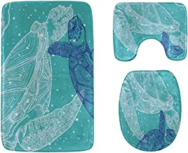 Tropical Fish and Sea Turtle Bathroom Rug Mats Set 3-Piece,Soft Shower Bath Rugs,Contour Mat and Toilet Seat Lid Cover Non...