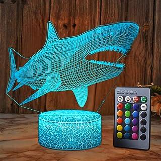 XEUYUTR Shark LED luz de noche habitación decoración de fiesta adornos Navidad cumpleaños Navidad regalos regalos regalos para niños 5 4 3 1 6 2 7 8 9 10 11