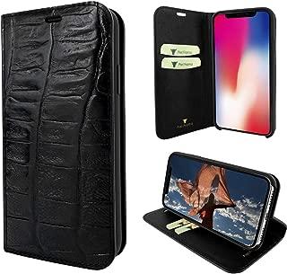 Piel Frama iPhone X/Xs FramaSlimCards Leather Case - Black Wild Cowskin-Crocodile