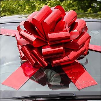 Jaffa Imports - Lazo gigante para coche (16 pulgadas) + 6 metros de cinta para coches, bicicletas, regalos de cumpleaños y Navidad, color rojo holográfico: Amazon.es: Hogar