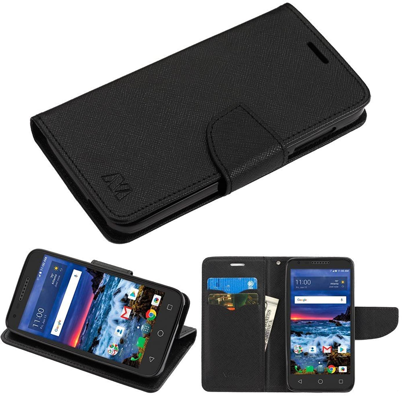For Alcatel Raven A574BL Wallet, Phonelicious PU Leather Case Premium Pouch ID Credit Card Cover Flip Folio Book Style with Money Slot +Pen (BLACK WALLET)