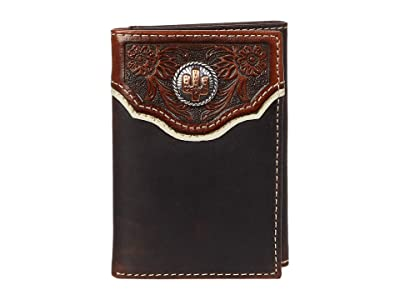 M&F Western Cactus Concho Floral Embossed Trifold Wallet (Brown) Handbags