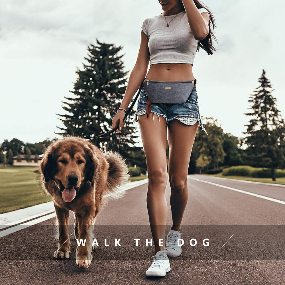 Running Fanny Pack Belt Bag with Adjustable Strap for Casual Hiking Cycling Dog Walking Fishing Grey Waist Bag for Women Men