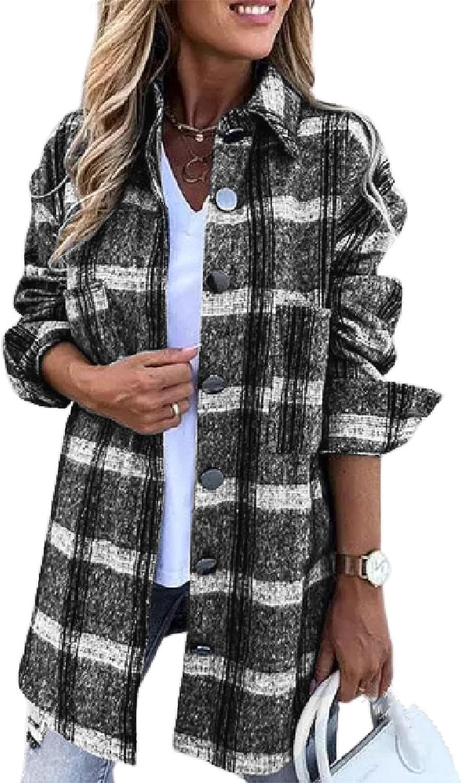 Shirt Jacket Women Casual Blend Plaid Lapel Button Down Long Sleeve Shacket Jacket Coat Loose Oversize Shirts