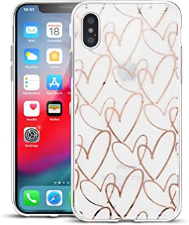 Clouds Compatible iPhone Xs Max Clear Case/iPhone Xs Max Soft Cases for Girls Glitter Rose Gold Cute Pattern Soft Flexible Durable Slim TPU Phone Cases for Apple iPhone Xs Max-Heart