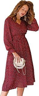 فستان للنساء بنقش الزهور، انيق باكمام منفوخة وتصميم ايه لاين وقبة V، خصر عالي، مزخرف ومناسب للمكتب والسيدات 2020