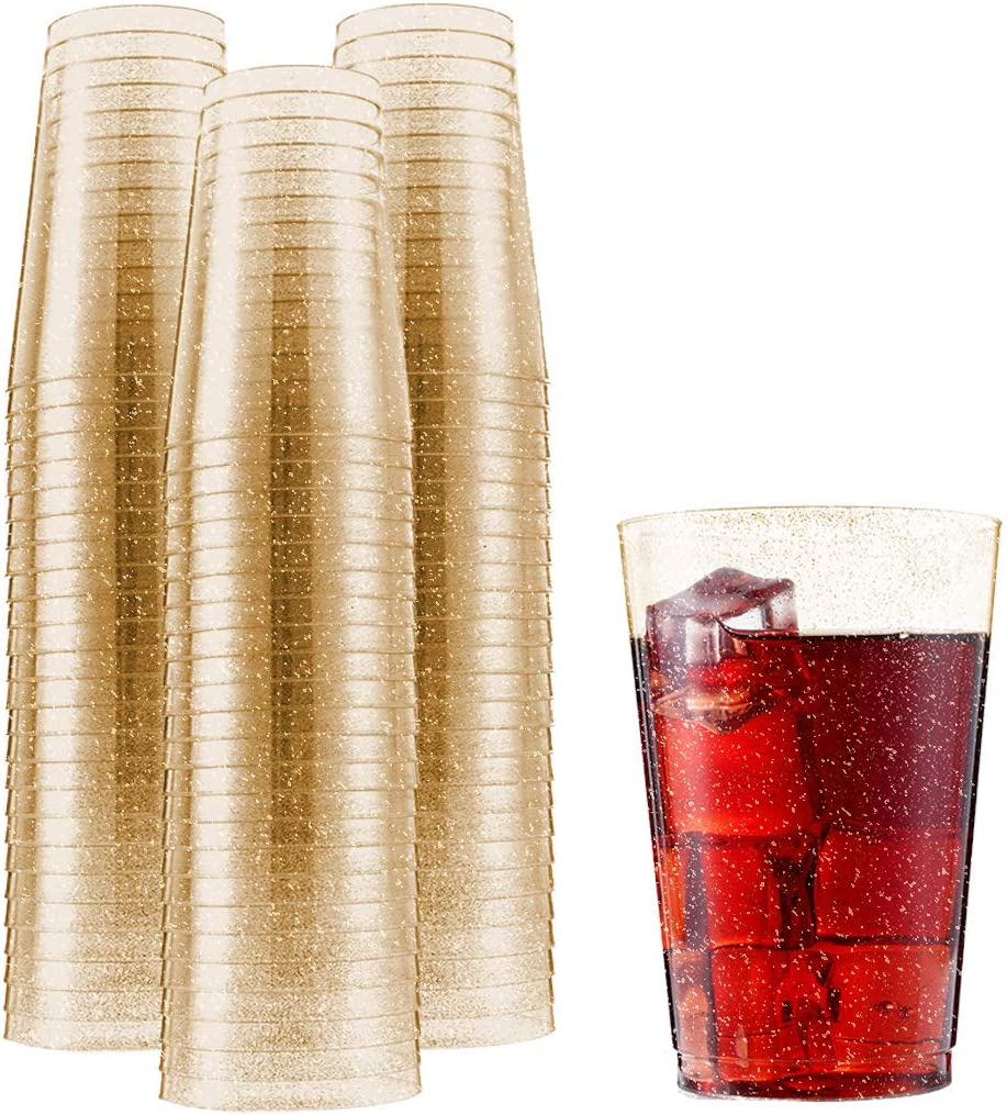 N9R 100pcs 12oz Plastic Cups Disposable Wedding Cups Clear/Plastic/Cups with Gold Glitter for Party Superior Durability Plastic Tumbler
