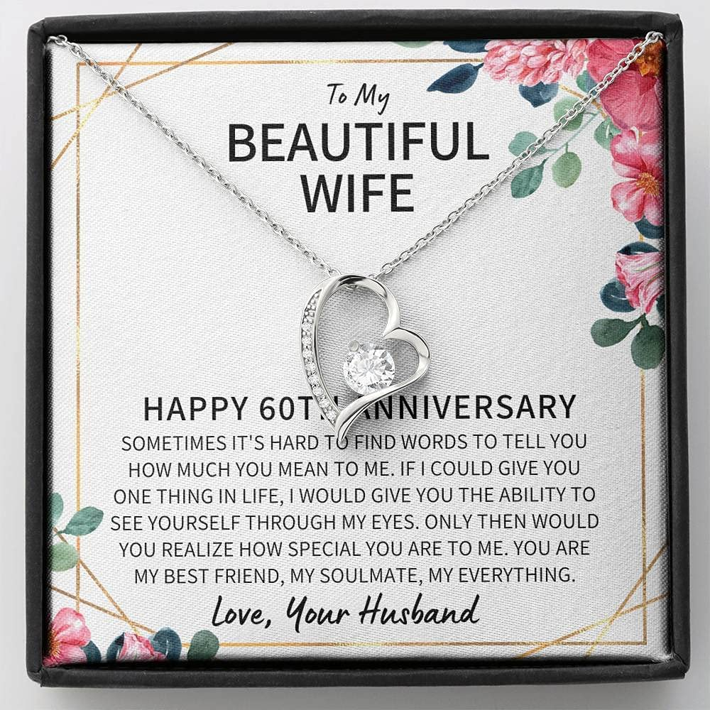 60 Year Wedding Anniversary Wife Gift – 60 Year Anniversary Necklace Gift For Wife – 60th Wedding Jewelry Gift For Her – 60th Anniversary Wedding Present – FLSG00060-13
