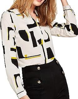 Milumia Women's Elegant Button Workwear Shirt Stand Collar Long Sleeve Blouse