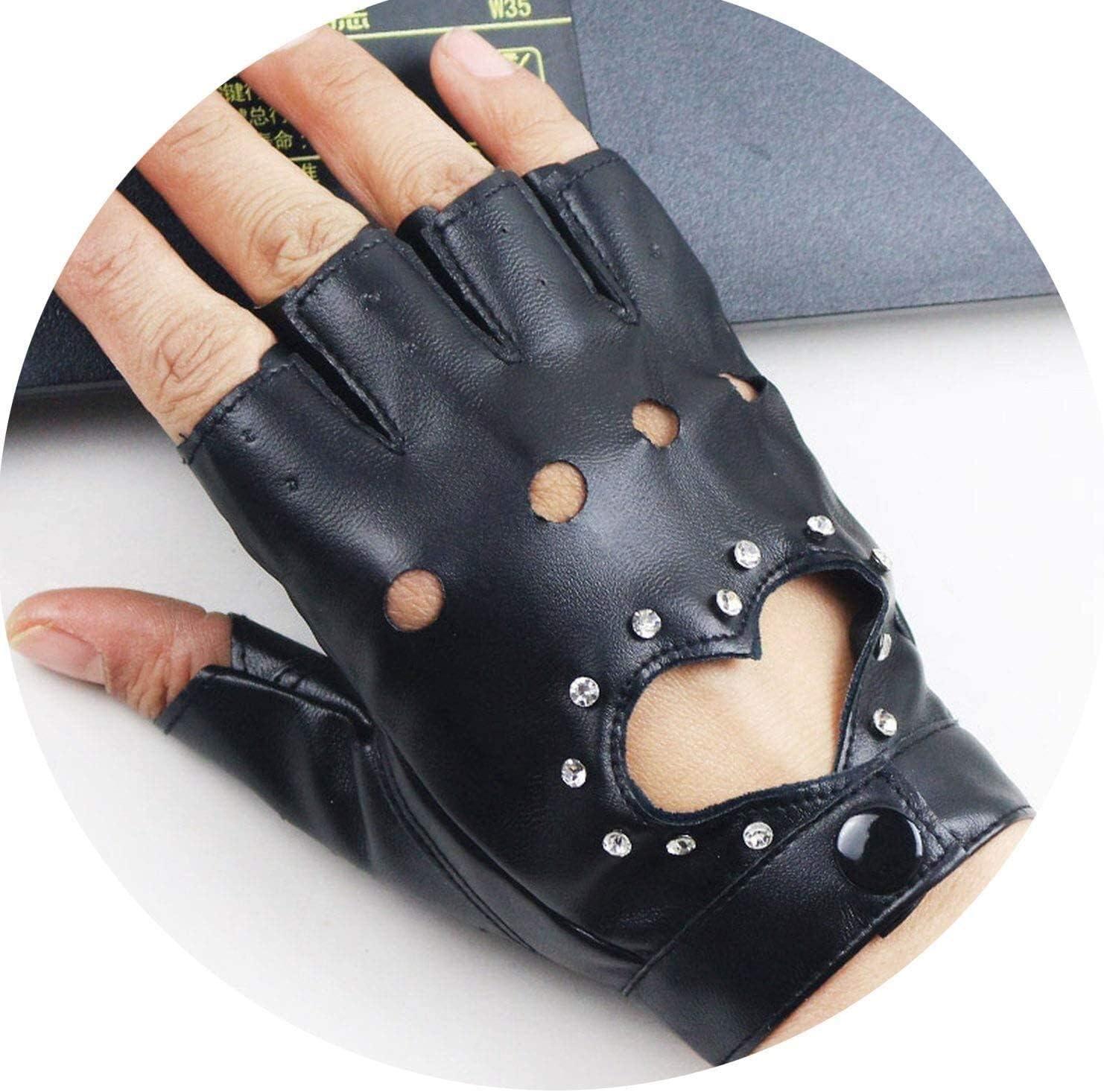 Samantha Warm Gloves Women PU Leather Gloves Female Night Club Rivets Punk Rock Show Half Finger Fitness Street Dance Thin Heart Gloves (Color : Rivets Black, Size : Oneszie)
