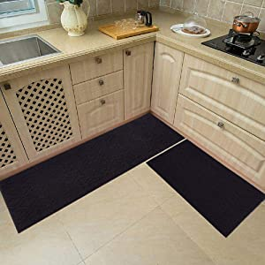 48x20 Inch/30X20 Inch Kitchen Rug Mats Made of 100% Polypropylene 2 Pieces Soft Kitchen Mat Specialized in Anti Slippery and Machine Washable,Black