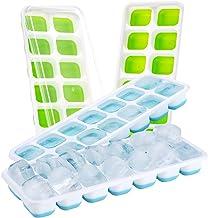 (4 Pack) Bac à Glaçons Sans BPA, TOPELEK Moules à Glace Glace Cube Tray Moisissures avec Couvercle Non-Déversement pour l'Eau Cocktails et Autres Boissons - Bleu+Vert