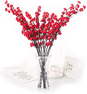 Charmly 5 Pcs Artificial Plum Blossom Fake Wintersweet Long Stem Plastic Flowers Home Hotel Office Wedding Party Garden Decor 27.5'' High Red