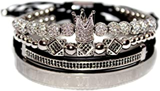KOKOSHELL Royal King Crown Entertainment 4PCS Set Rhinestone 18kt Gold Bracelet/Silver Charm Bracelets Men Luxury CZ Imper...