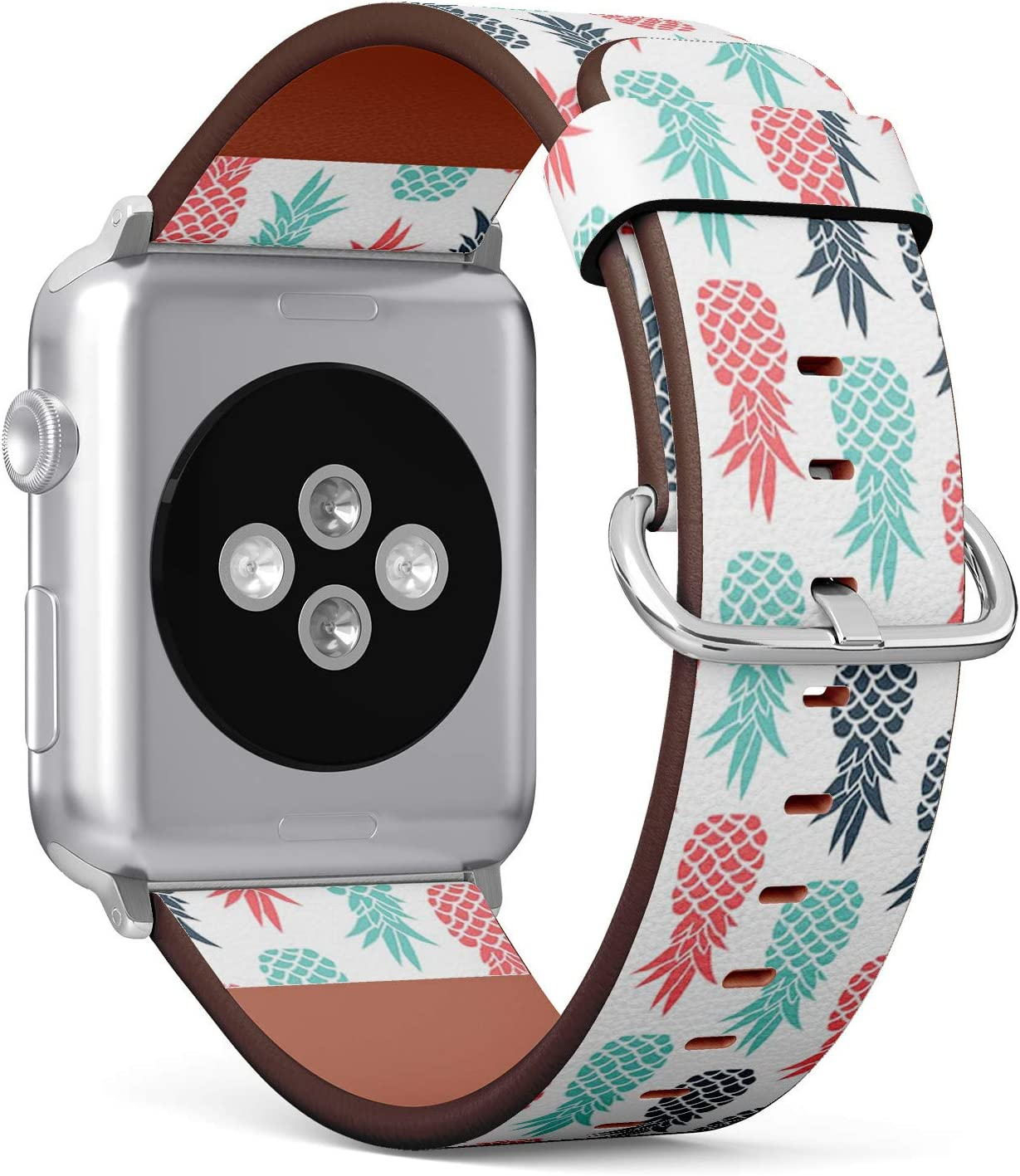 Compatible with Apple Watch (Small Version) 38 / 40mm Leather Wristband Bracelet with Stainless Steel Clasp and Adapters - Pineapple Fruit