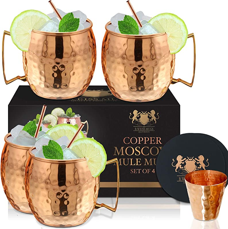 Moscow Mule Copper Mugs Set Of 4 By B WEISS 100 Pure Copper Bonus 4 Copper Straws 4 Coasters 1 Shot MugHandmade Hammered Copper Cups