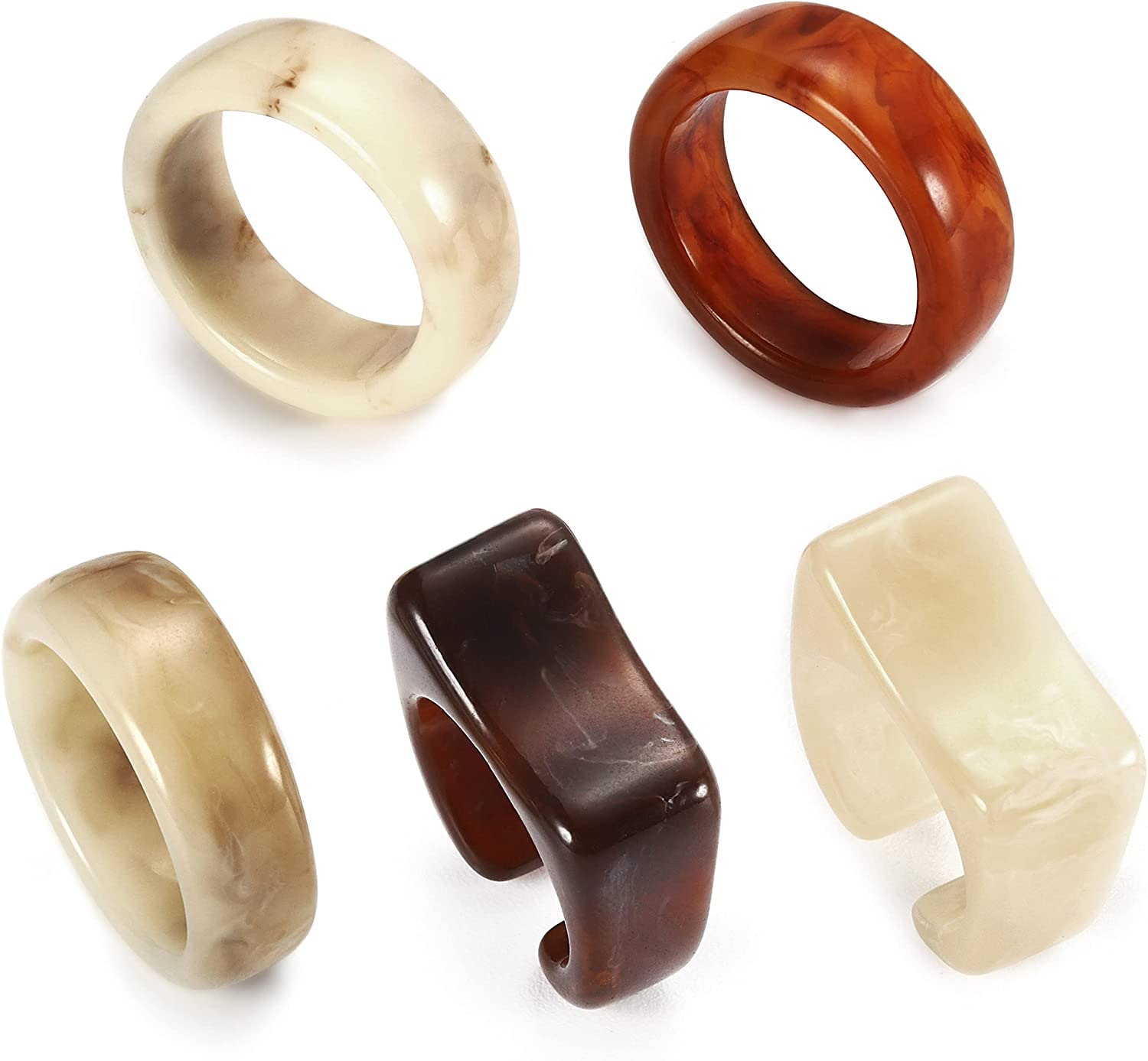 Hayoso Chunky Rings Colorful Resin Acrylic Rings for Women Teen Girls, Vintage Stacking Rings Square Transparent Rings Trendy Jewelry