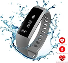 Smart Fitness Tracker,Bluetooth Smart Watch with Blood Pressure Heart Rate Sleep Pedometer Camera Remote Shoot Blood Oxygen Monitor R5 Smart Wristband Bracelet for Andriod and iOS Phone