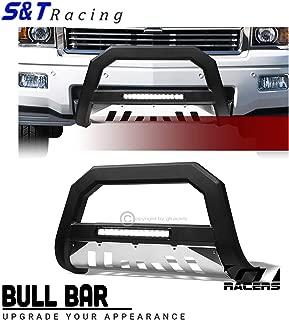 S&T Racing Matte Black LED Bull Bar AVT Aluminum SS Skid 2007-2018 for Chevy Silverado/GMC Sierra 1500
