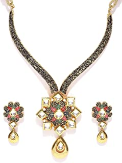 YouBella Traditional Jewellery Gold Plated Jewellery Set for Women (Multi-Colour) (YBNK_5513)