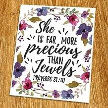 Proverbs 31:10 She is far more precious than jewels Print (Unframed), Watercolor Flower, Scripture Art, Bible Verse Print, Christian Wall Art, Nursery Print, Inspiration, 8x10