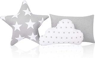 Amilian Lot de 3 coussins décoratifs pour chambre d'enfant Motif étoiles et nuages