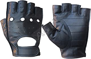 A&H Apparel Leather Motorcycle Glove Genuine Cowhide Fingerless Leather Driving Gloves (Medium)