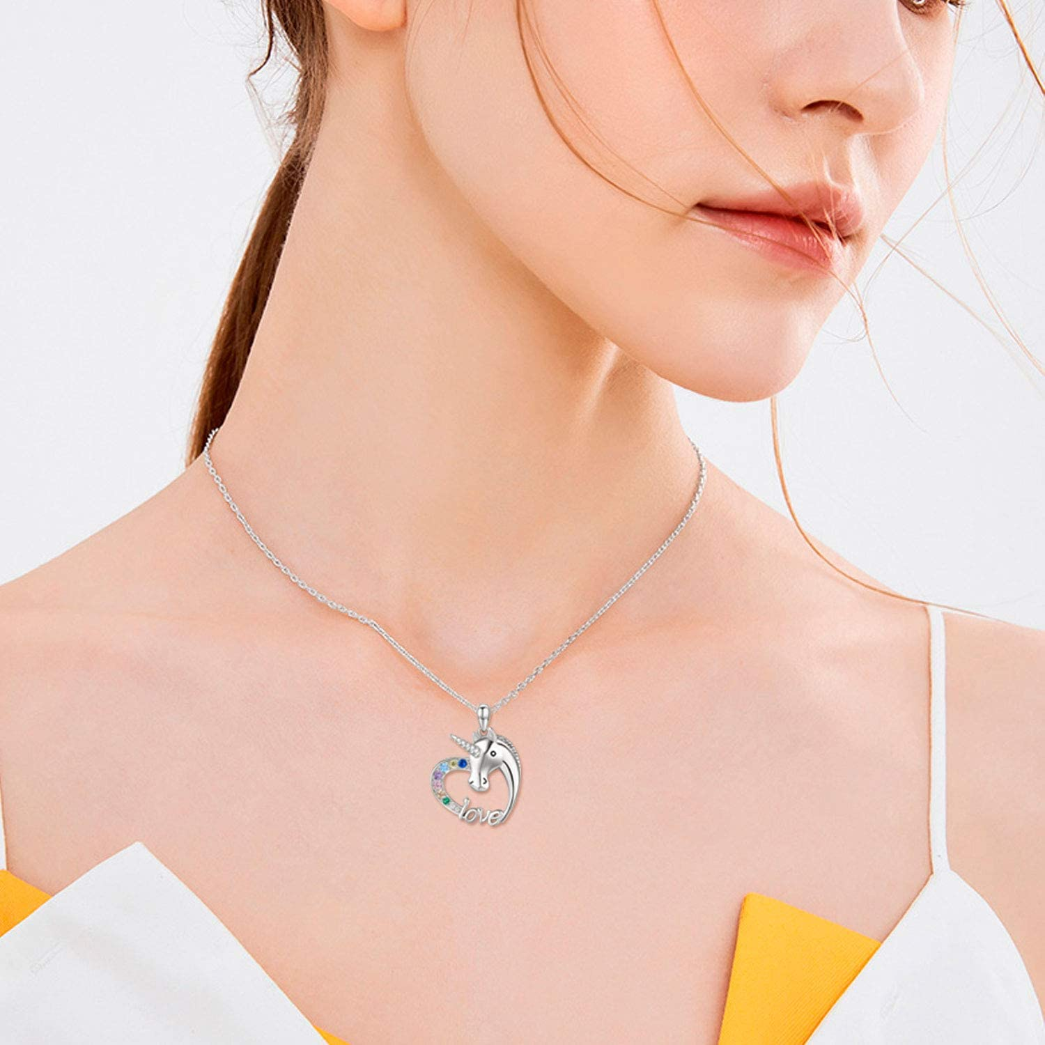 Unicorn Necklace S925 Sterling Silver Mom Gifts Unicorn Jewelry for Teens Women