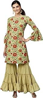 INDO ERA Women's Pure Cotton Straight Sharara Kurta Sets (Green)