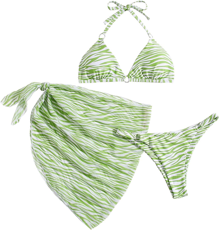 SOLY HUX Women's 3 Piece Tie Dye Bikini Set Swimsuit with Sarongs Cover Ups Beach Skirt Bathing Suit