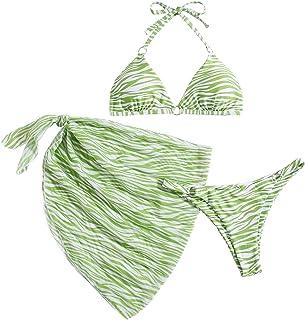 SOLY HUX Women's 3 Piece Halter Zebra Print Bikini Set Swimsuit with Mesh Beach Skirt Bathing Suit Green M