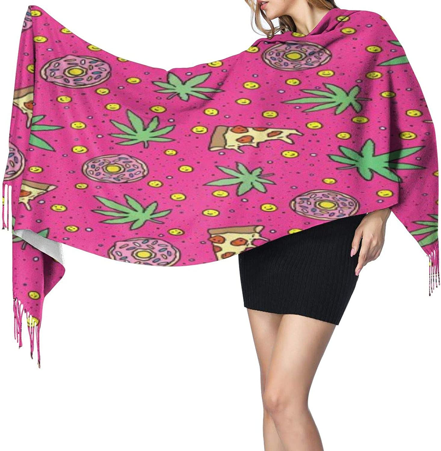 Cashmere fringed scarf Pizza and cannabis winter extra large scarf