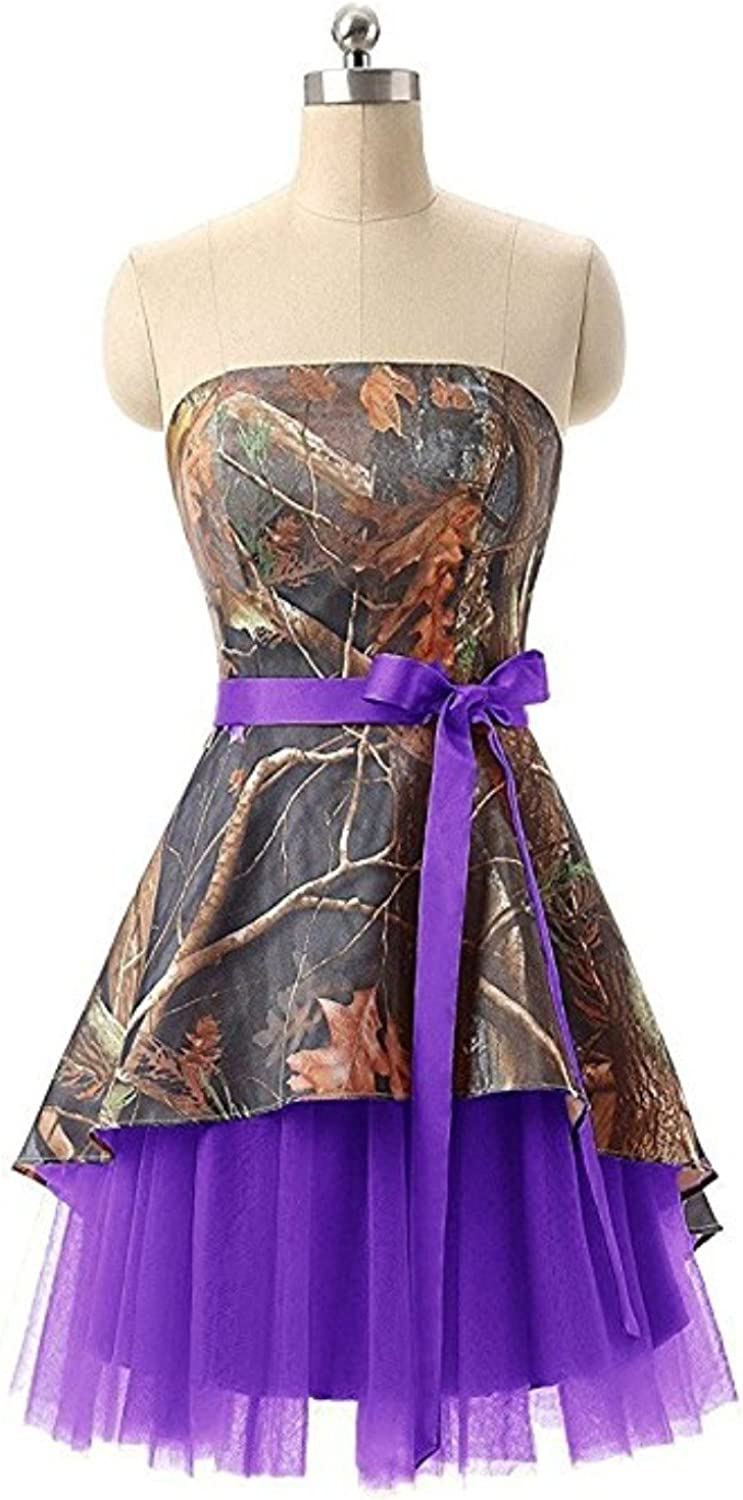Macria Women's Strapless Camo Mini Junior Homecoming Dresses Bridesmaids Gown