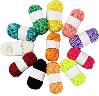 Diagtree 12Pcs 10g Milk Knitting Cotton Yarn Warm Soft Chunky Hand-woven Crochet Wool Yarn for Sweaters Hats Scarves DIY (...