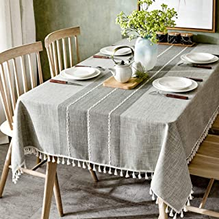Elome Washable Cotton Stitching Tassel Linen Fabric Vintage Grey Line Damask Pattern Macrame Lace Square Tablecloth Dinner Picnic Table Cloth Home Decorative Table Cover 55 Inch X 55 Inch
