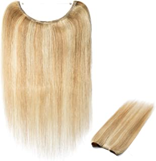 16inch 100% Real Remy Hidden Crown Hair Extensions Human Hair Secret Wire Long Straight Hairpieces For Women Natural #18P613 Ash Blonde & Bleach Blonde 16'' No Clip No Glue No Tape