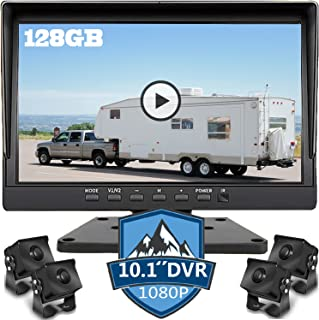 $379 » 10.1 inch 1080P Backup Camera Monitor & Built-in 128GB DVR Video Sound Recorder for RV Truck Trailer Rear Side Front Rever...