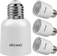 DiCUNO E26 to E39 Adapter, Medium E26 to Mogul E39 Screw Base Light Bulb Socket Converter, Maximum 300W and 165℃ Heat Resistant 4Pcs