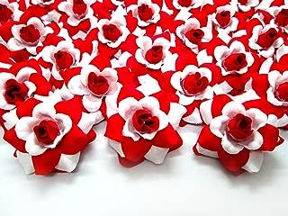 (100) Silk White Red Roses Flower Head - 1.75