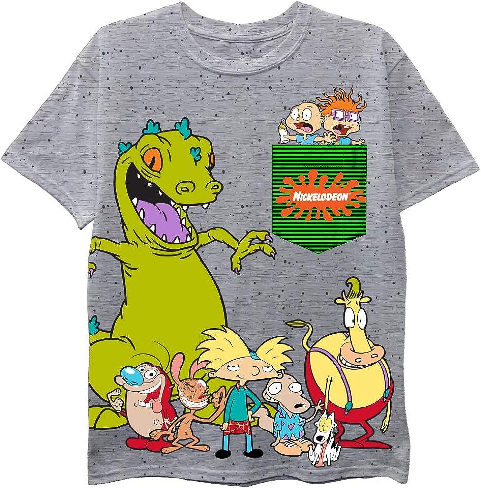Nickelodeon Nick 90's Retro Boys T-Shirt - Rugrats, Ren & Stimpy, Reptar Boys Short Sleeve Tee - Boys 4-20 Sizes