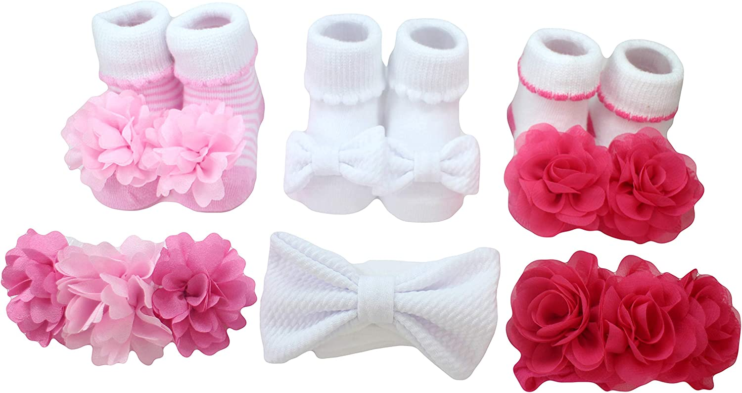 Baby Girls Novelty 6Pc Headwrap/Sock Set - Light Pink/White/Pink - ONE SIZE: 0-12MONTHS