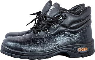 Tiger Men's High Ankle Leopard Steel Toe Safety Shoes (Size 8 UK, Black, Leather )