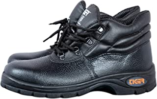 Tiger Men's High Ankle Leopard Steel Toe Safety Shoes (Size 8 UK, Black, Leather )