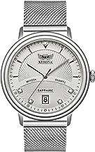 Men's Quartz Watch, KESONA Sapphire Glass Thin Stainless Steel Calendar Watch Waterproof Mesh Strap