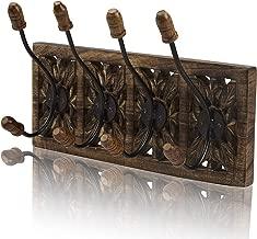 Decorative Wooden & Cast Iron Vintage Rustic Coat Hanger Wall Mounted Jacket Robe Towel Door Hook Rack Holder Rail for Hallway Living Room Entryway Bathroom Bedroom Home Decor Accents
