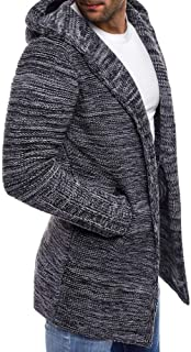 Men's Knit Mid-Length Cardigan Men's Hooded Solid Knit Trench Coat Jacket Cardigan Long Sleeve Outwear Blouse
