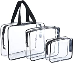 3pcs TSA-Approved Clear Travel Toiletry Bag With Handle Travel Toiletry Bag Set with Zipper PVC Make-up Pouch Handle Straps Waterproof Packing Organizer Storage Carry-On Luggage for Women Men