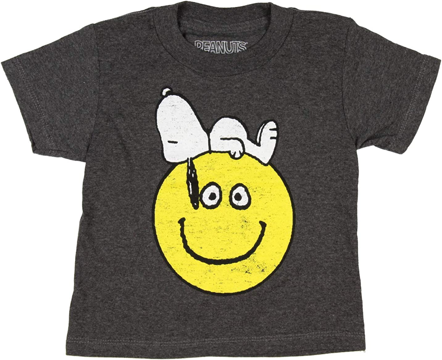 Peanuts Boys' Snoopy Laying On A Smiling Face Distressed Graphic T-Shirt