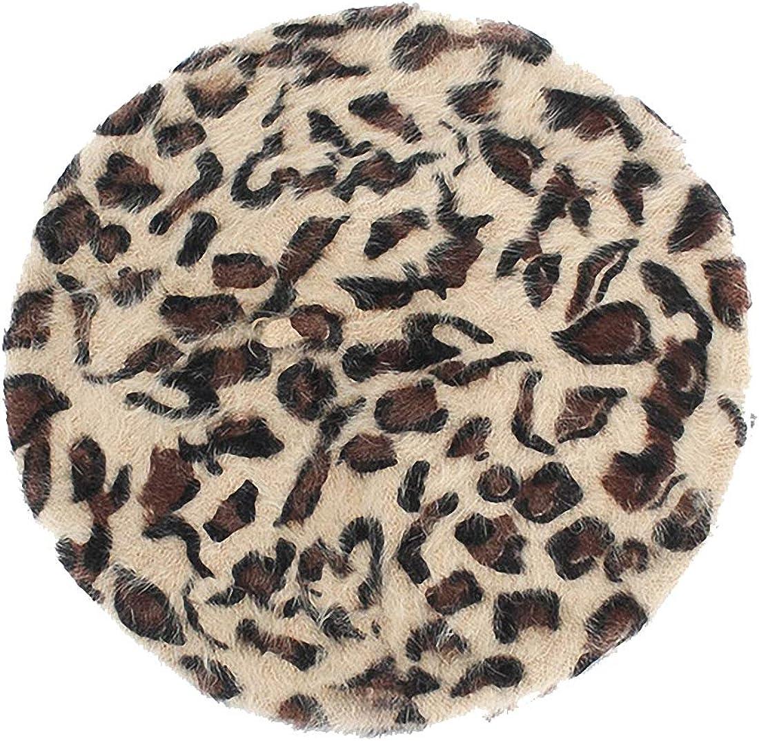 AkovichFarh Wool Leopard Beret Women Warm Beret Hat Cap Autumn Party Club Beret Beanie